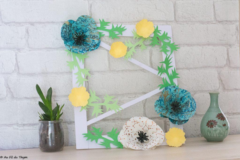 Un cadre fleur papier pour le printemps - Anémones façon kirigami - DIY par Au Fil du Thym