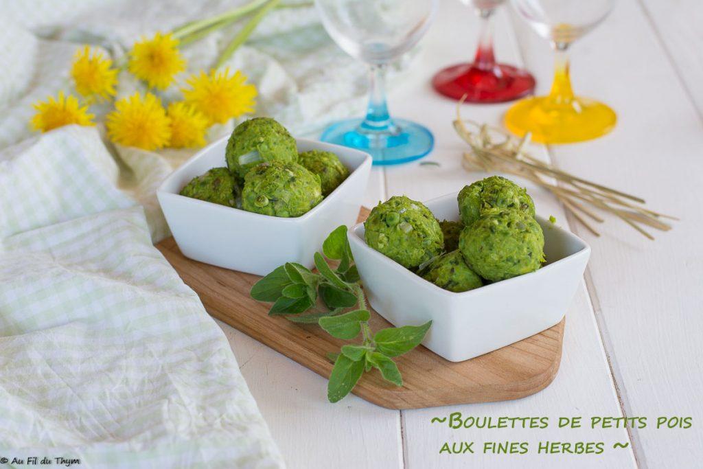 boulette petit pois et origan - recette végétalienne facile - Au Fil du Thym
