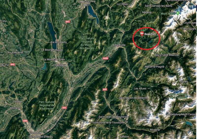 Situation Beaufort en Savoie