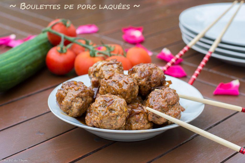 Boulettes laquées au porc et sauce soja - recette boulette facile - Au Fil du Thym