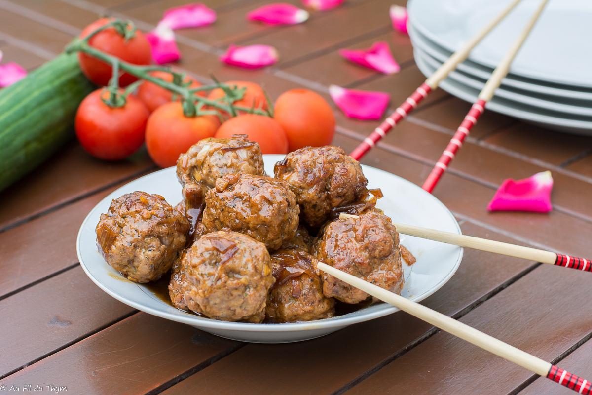 Boulettes de porc laquées (à la sauce soja)