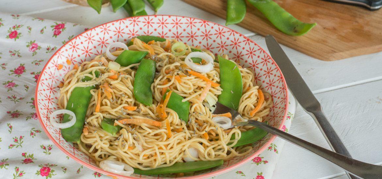 Nouilles sautées aux pois gourmands - A la poêle ou au wok - Recette nouilles pois gourmands