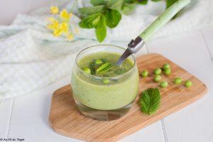 Soupe froide petit pois, artichaut, et menthe - une délicieuse recette artichaut & petit pois à déguster en entrée, repas léger ou à l'apéritf !