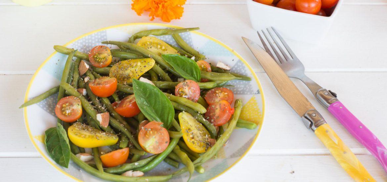 salade haricots verts tomates cerises basilic - au fil du thym