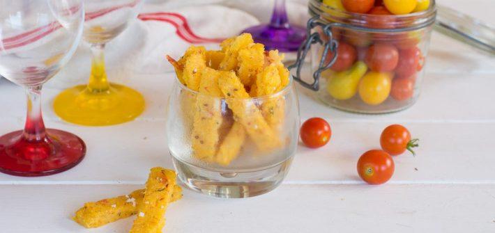 Frites polenta au four, au parmesan & tomates confites - Idéal apéro