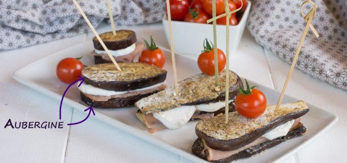 croque aubergine chèvre et bacon