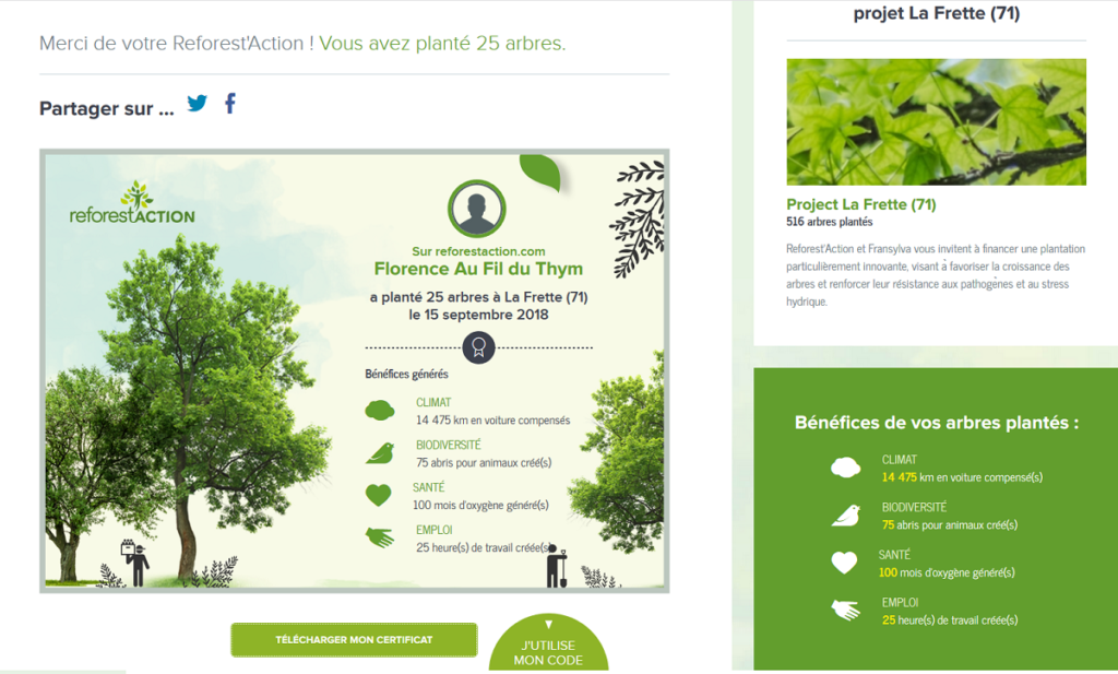 Plantation Arbres Au Fil du Thym - Reforest'Action