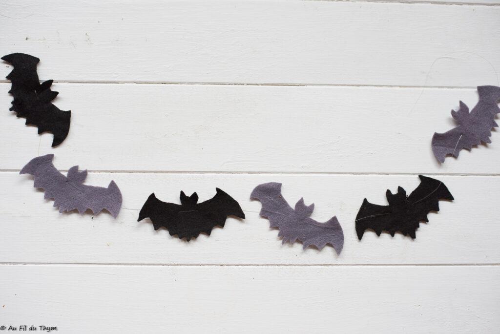 Décoration chauve souris Halloween - Guirlande de Chauves souris feutrine