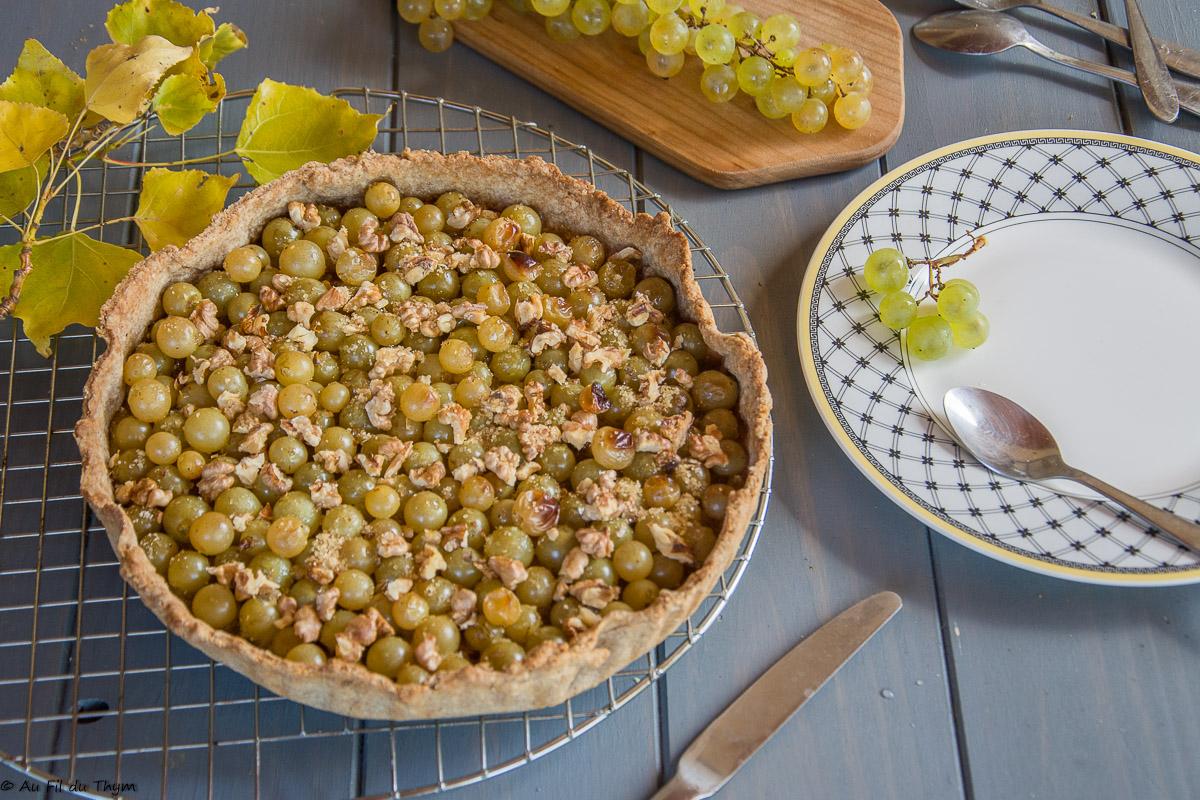 Tarte d'automne au raisin frais et noix
