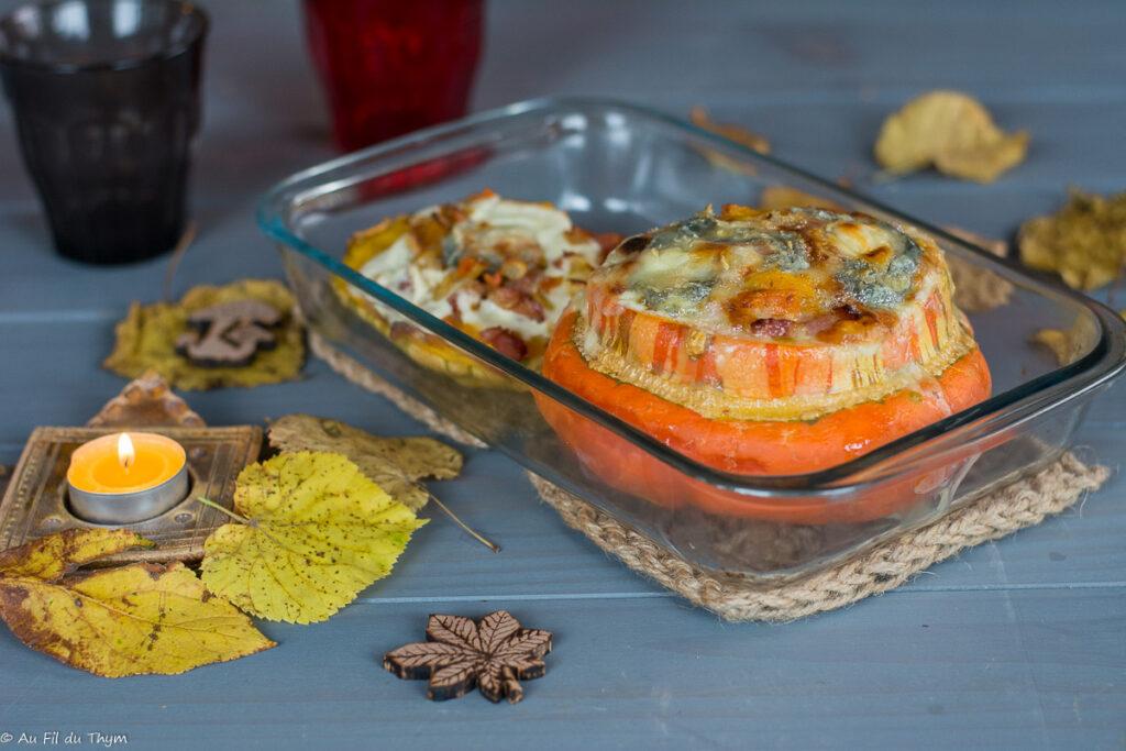 Giraumon farci lardons et chèvre (ou potiron turban) - Idée cuisine automne , courge farcie
