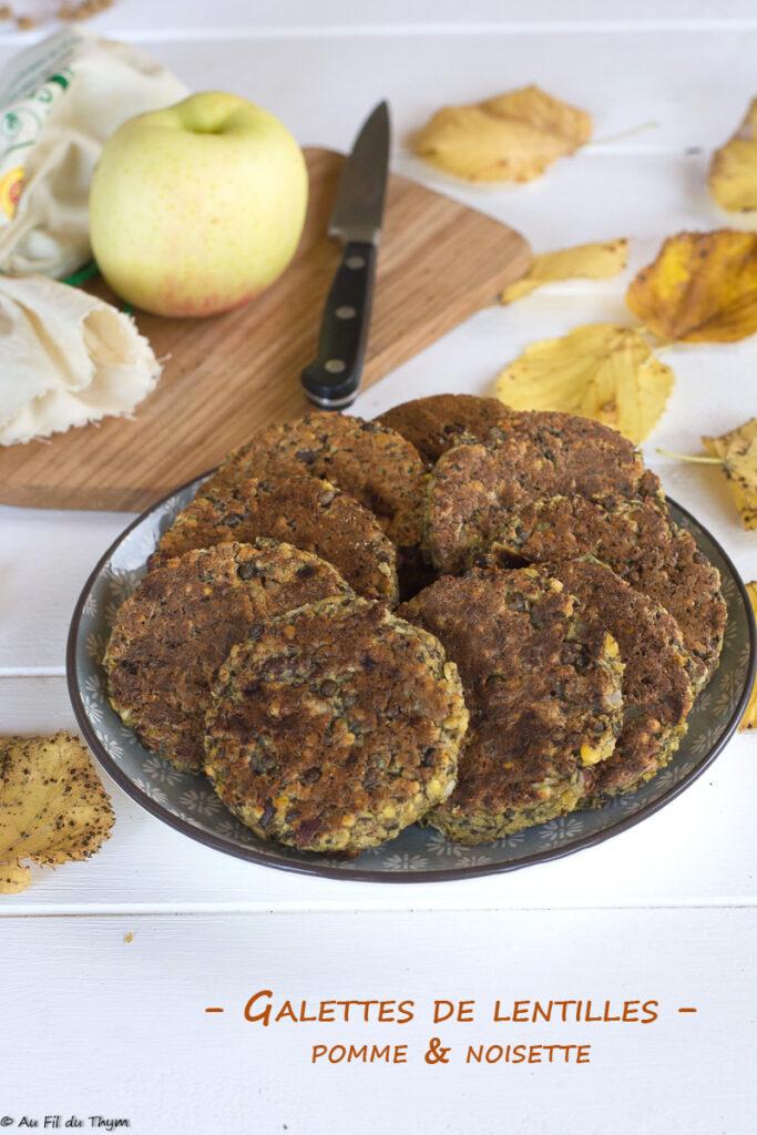 galette lentilles pomme noisette // Repas végétalien //au fil du thym