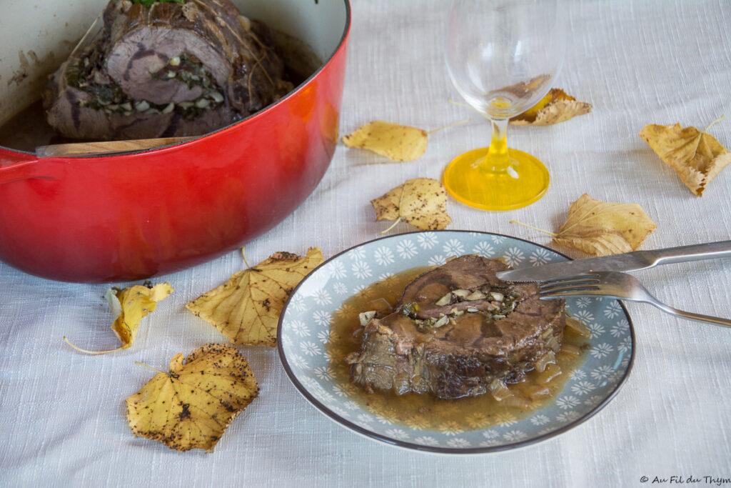 jarret boeuf roule champignon et noix - Recette d'automne pour un plat réconfortant et famillial