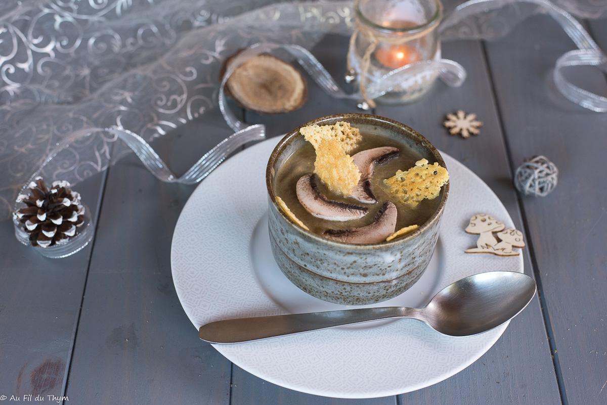 Crème de champignons et patate douce ( & tuiles de comté)