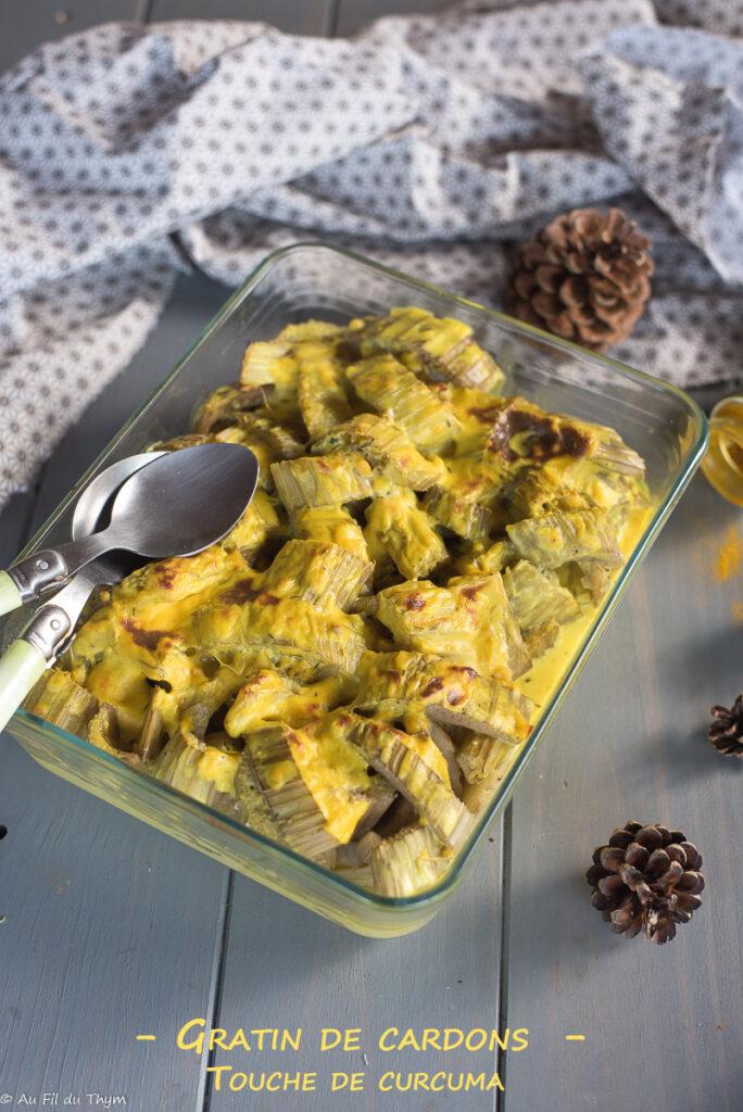 Gratin cardons au curcuma - Une recette traditionelle relevée par des épices - Au FIl du Thym