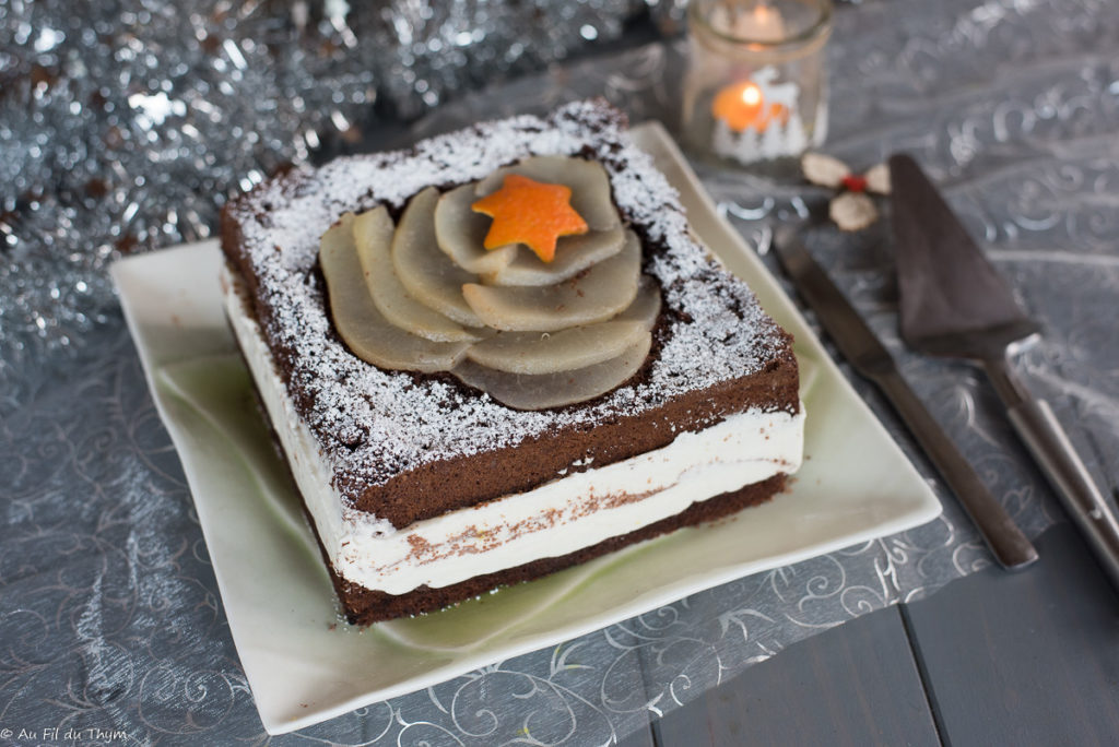Poirier chocolat - dessert de fête - Au Fil du Thym