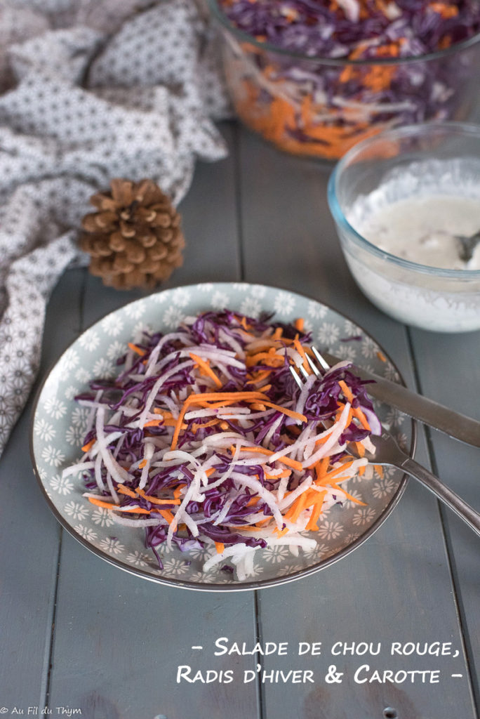 Salade chou rouge radis hiver et carotte // Salade hiver facile // Au Fil du Thym