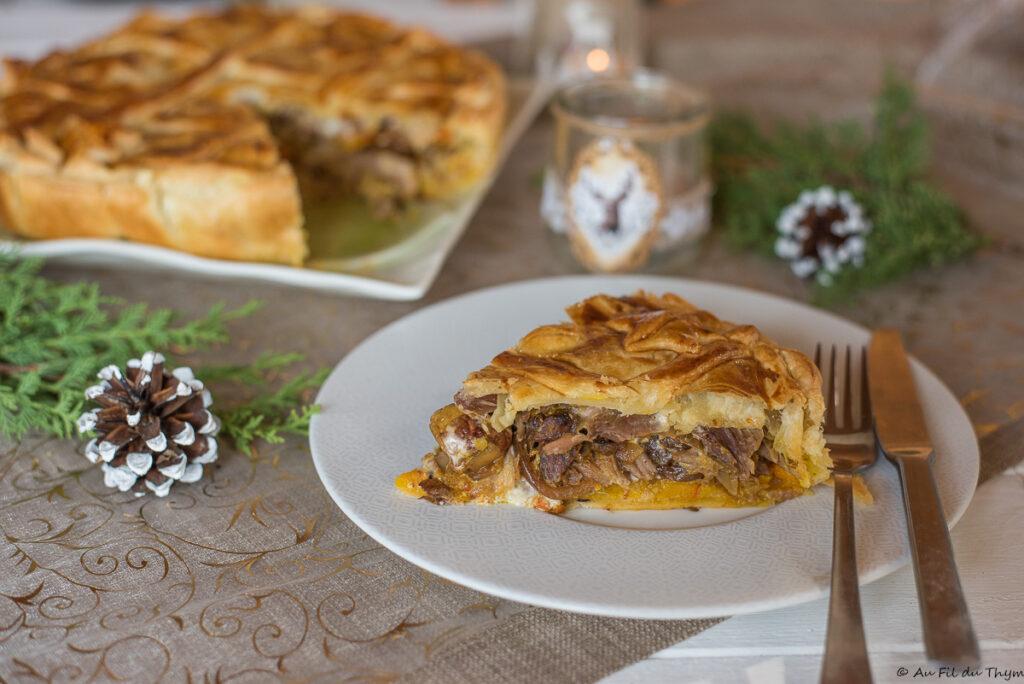 Tourte confit canard, potimarron et marrons - Tourte de Noël à partager au repas de noël - Au Fil du Thym