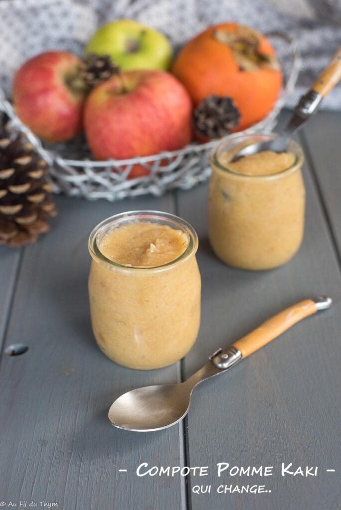 compote pomme kaki - Dessert d'hiver facile et léger - Au Fil du Thym