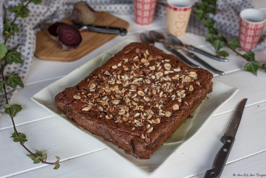 Brownie chocolat betterave noisette (sans gluten) - Au Fil du Thym