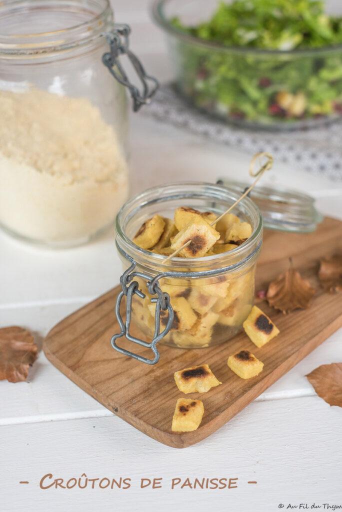 Croutons panisse facile - Idée pour relever salade ou topping de soupe - Au Fil du Thym