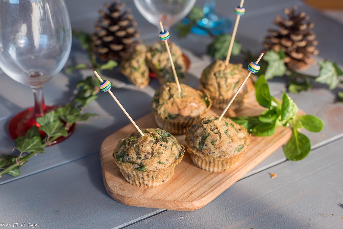 Mini muffins mâche et noix (idée apéro)