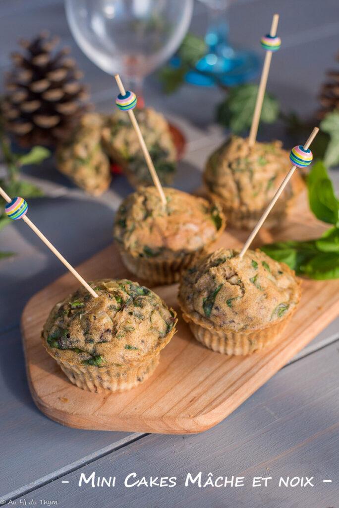 Mini cake mâche noix - Idée ludique pour l'apéritif - Au Fil du Thym