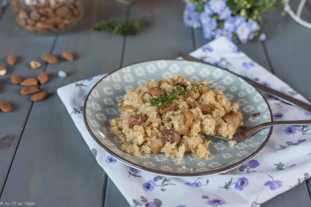 Célerisotto (Risotto au céleri) aux amandes - recette céleri facile végétarienne - Au Fil du Thym