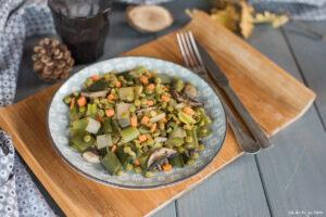 poelee pois casses poireau miso - Recette veggie facile - Au Fil du Thym
