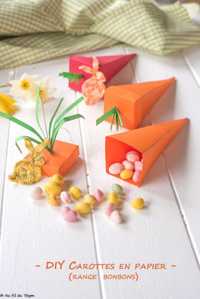 DIY carottes en papier - range bonbon paques - Au Fil du Thym