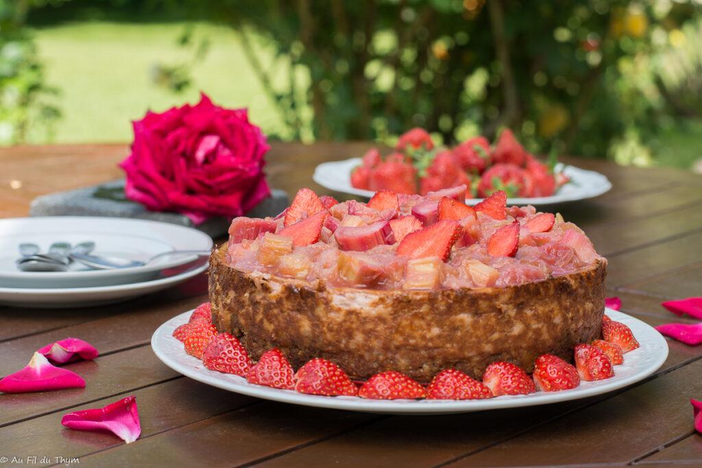 cheesecake fraise rhubarbe - Au Fil du Thym