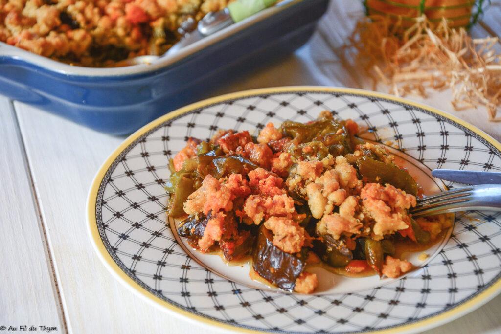 Crumble légumes été au chorizo - Au Fil du Thym