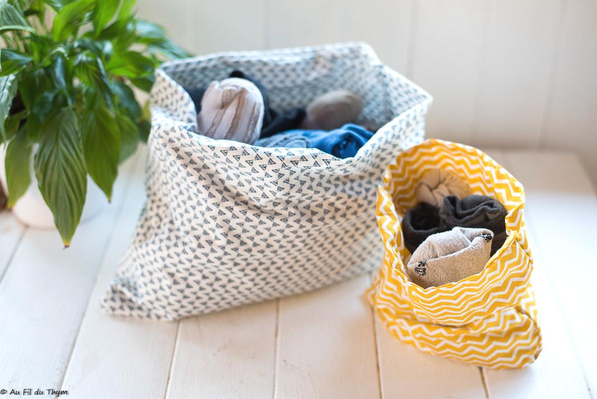– DIY rentrée – Sac à chaussettes (pour les placards)