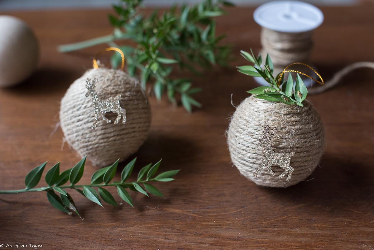 – DIY – Boules de Noël en corde (esprit nature)