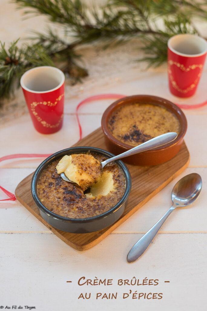 Crèmes brûlées pain épices - Dessert de fêtes facile - Au Fil du Thym