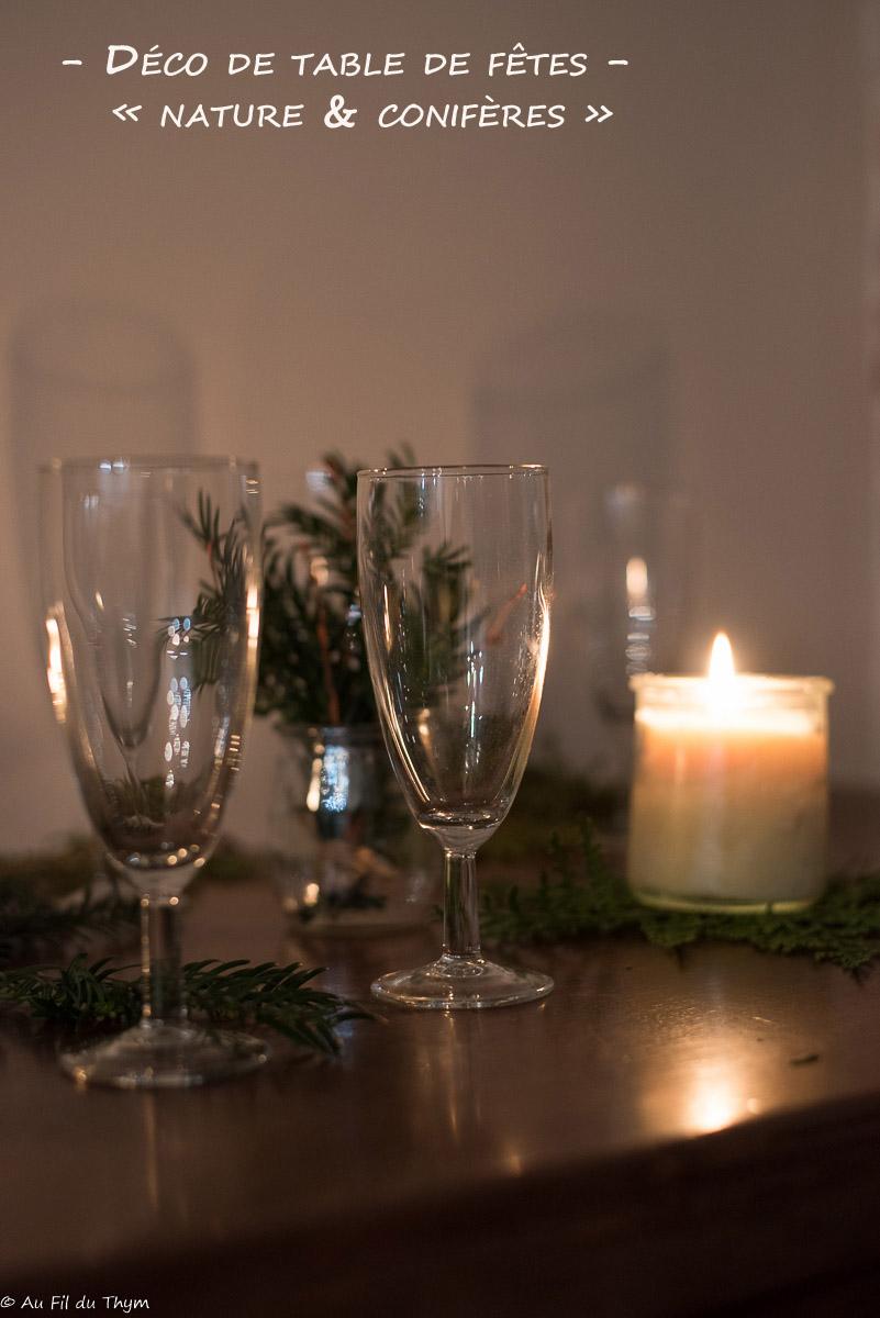 décoration table fête nature 2019 - Conifères et bougies