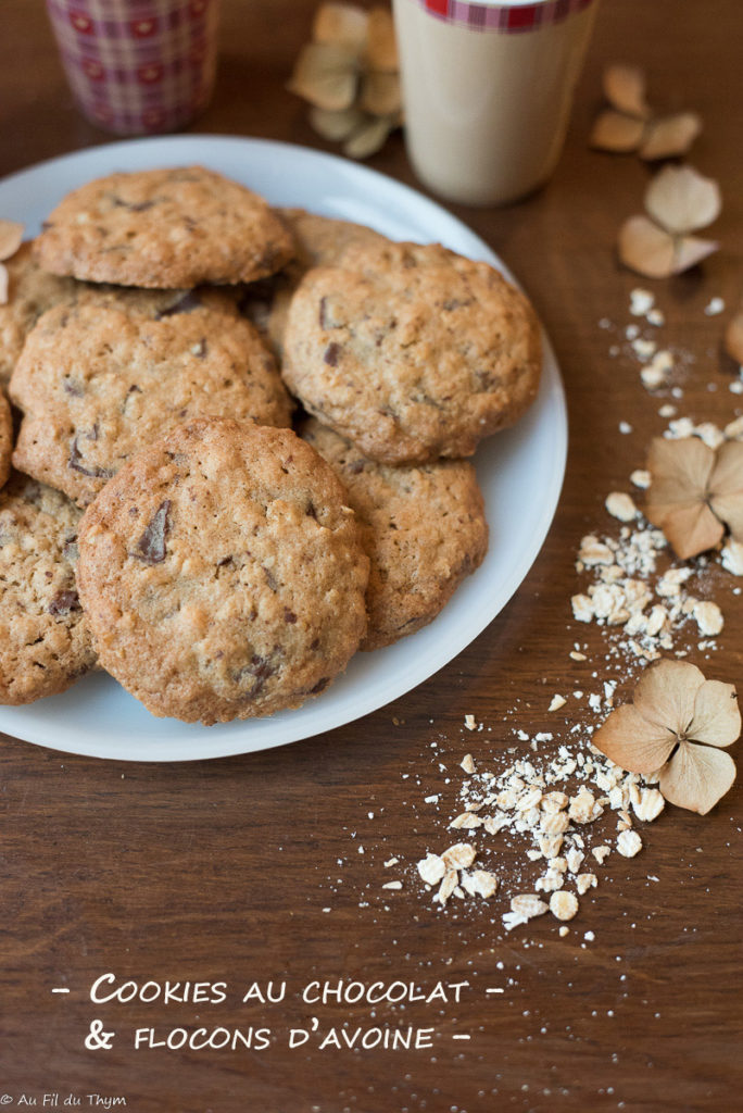 cookies chocolat flocons avoine - Au Fil du Thym