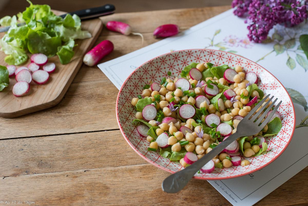 Salade de pois chiches, radis à la ciboulette (express)