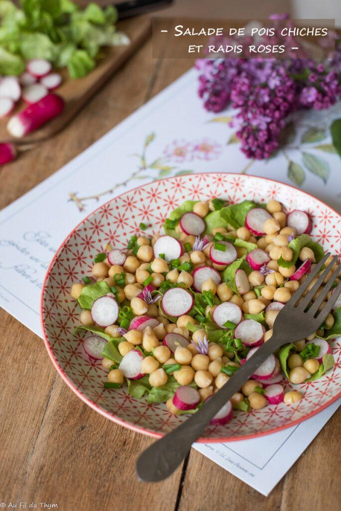Salade pois chiches radis rose et ciboulette - Au Fil du Thym