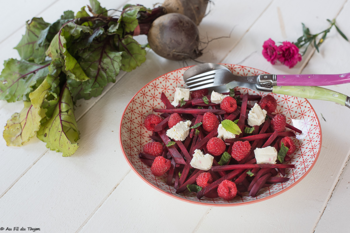 Salade betteraves framboises et menthe