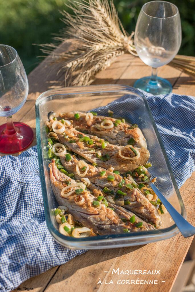 maquereaux grillés, marinade astiatique (corée)