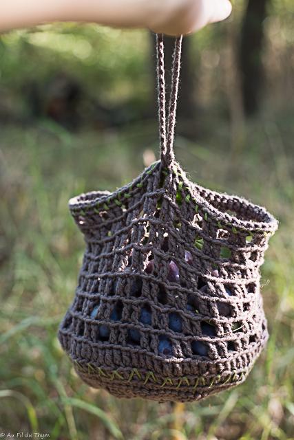 Panier de cueillette en crochet - Au Fil du Thym