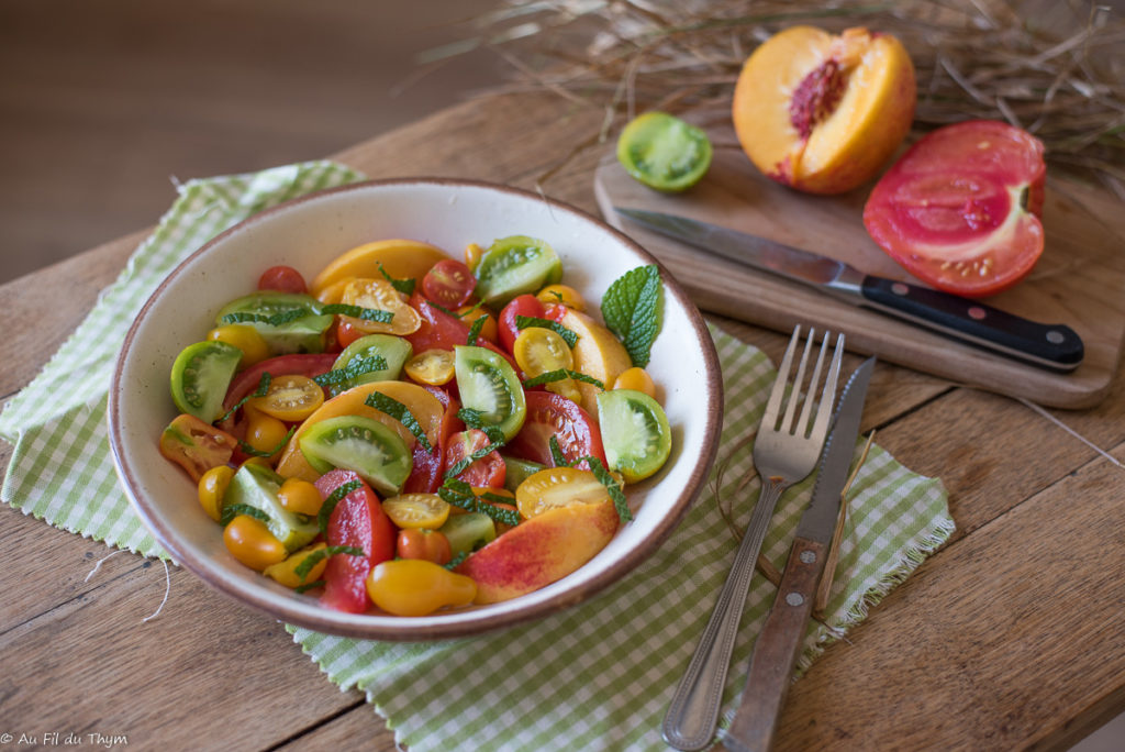 Salade tomates menthe - Au Fil du Thym