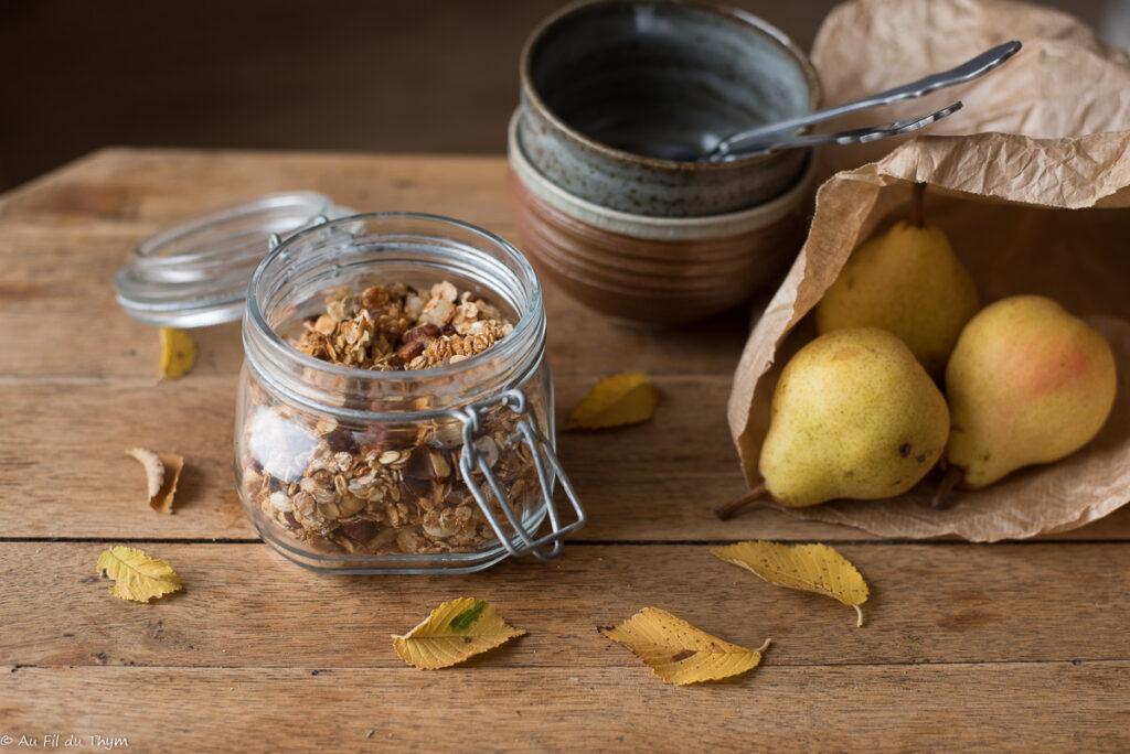Granola noisette, poire, miel (Granola d'Automne) - Au Fil du Thym