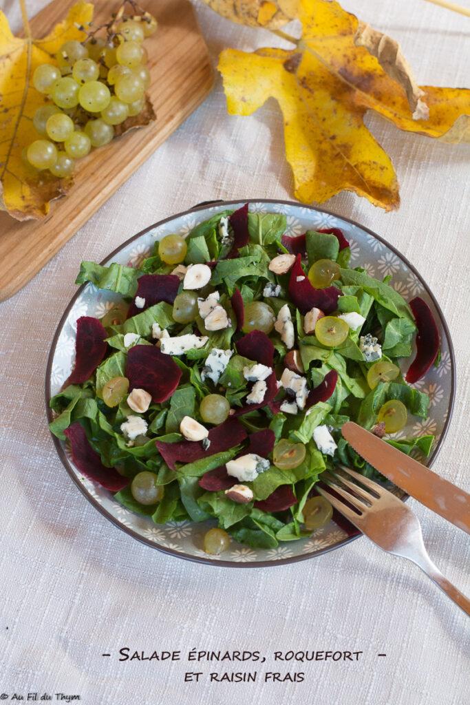 Salade épinard roquefort et raisin frais - Au Fil du Thym