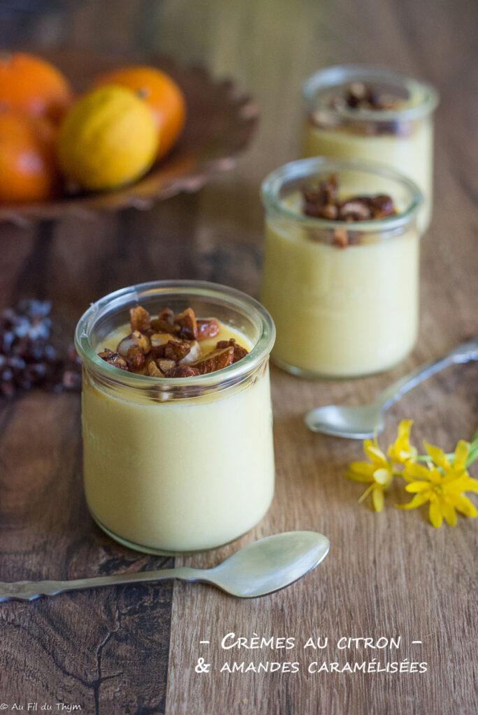 Crème dessert citron et amandes caramélisées - Au Fil du Thym