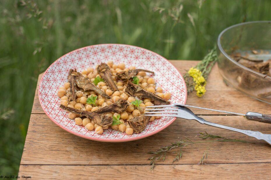 Salade pois chiche artichauts rôtis au cumin - Au Fil du Thym