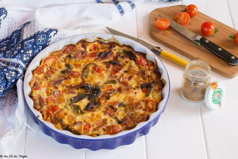 Clafoutis poivrons et jambon cru (façon basquaise)