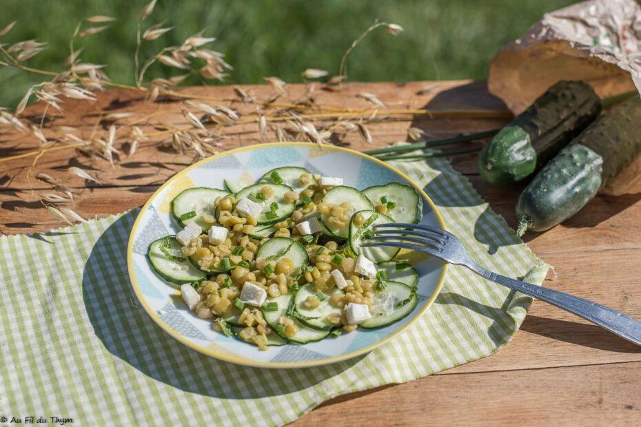 Salade pois casses concombre menthe - Au Fil du Thym